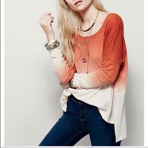 Free People Long Sleeve BoHo Ombré Top High Low
